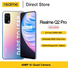 هاتف ذكي من Realme طراز Q2 Pro بذاكرة وصول عشوائي 8 جيجابايت وذاكرة قراءة فقط 256 جيجابايت وشاشة 6.4 بوصة وبطارية بقدرة 4300 مللي أمبير في الساعة وقدرة 65 ...