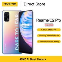 Realme Q2 Pro Smartphone 8GB 256GB 6.4 ''4300mAh 65W Schnelle Ladegerät Dimensity 800U Octa Core 48MP AI Quad Kamera 5G Handy