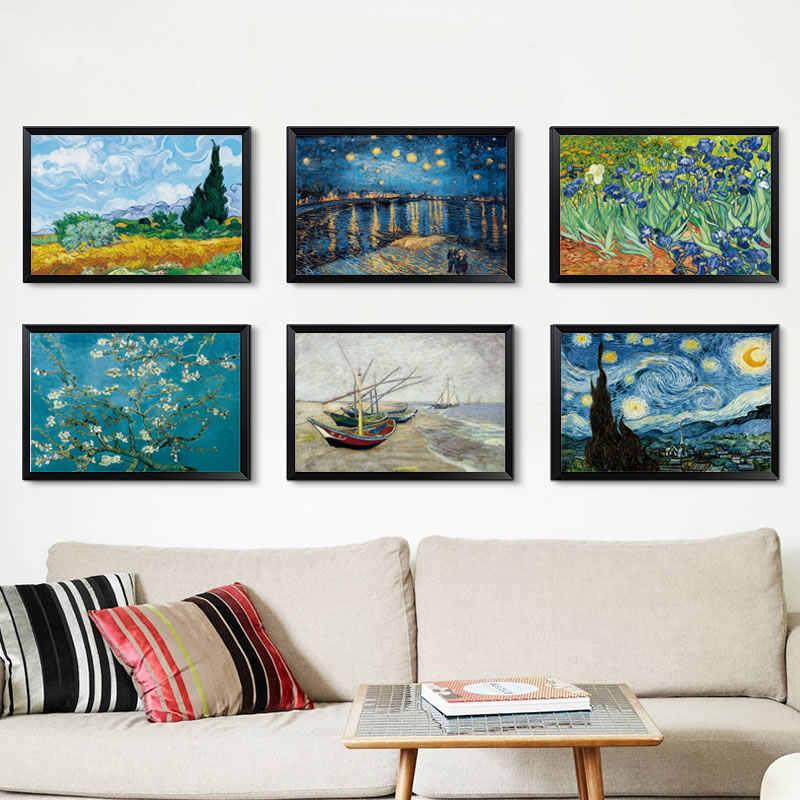 Zarif şiir yıldızlı gece Vincent Van Gogh ünlü sanatçı sanat baskı posteri duvar resmi tuval yağlıboya ev duvar dekoru