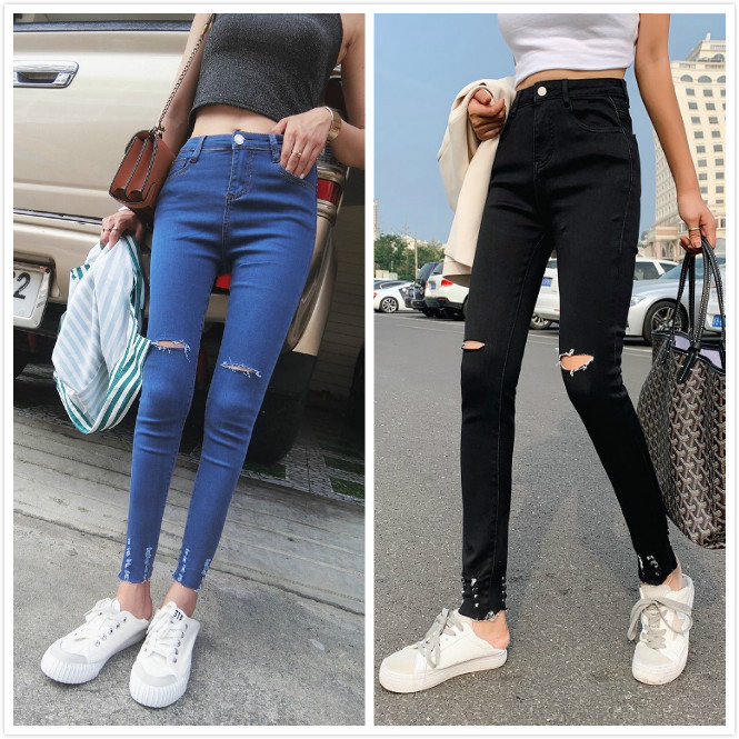 Europe And America Street Snap-Style Ultra-stretch Sheath Online Celebrity Hyuna With Holes Tight-Fit Jeans Skinny Pants Signifi
