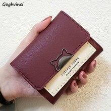 Portfele damskie wizytownik śliczne kasetonowe krótkie kopertówka ze skóry PU portfel Chic Ins Mini torebka damska kot koreański stylowa torba moda