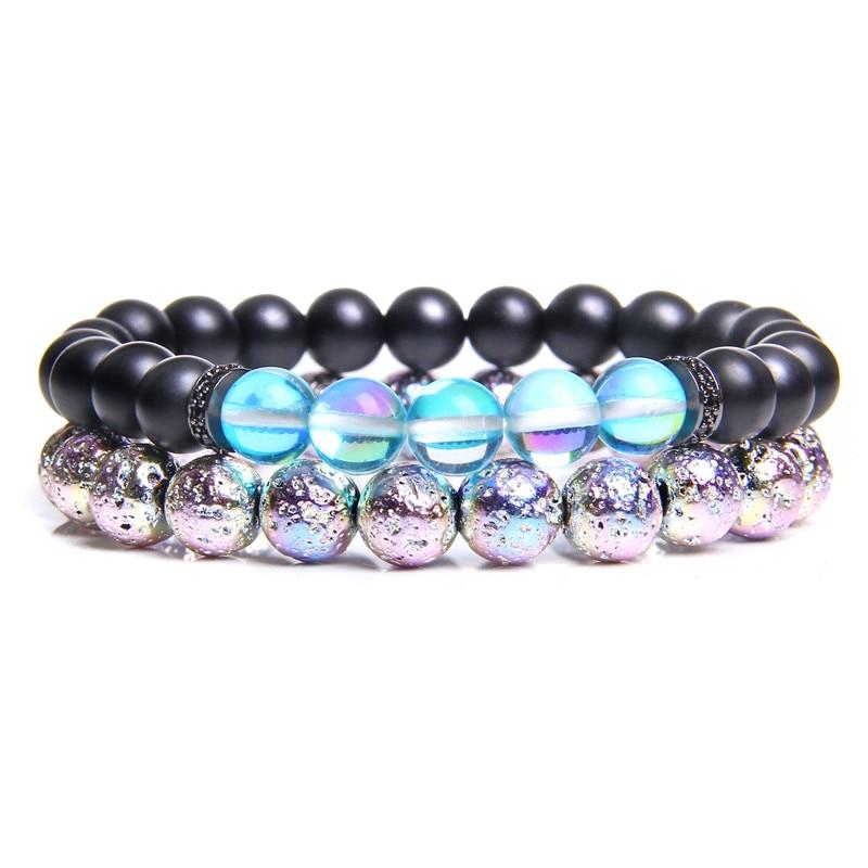 Couples Bracelet Men Natural Stone Black Onyx 8mm Electroplated Lava Volcanic Stone Beads Charm Bracelets For Women Gift pulsera