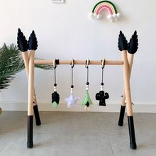 1 Set Nordic Style Solid Wood Fitness Rack Pendant Baby Gym Toys Wooden Frame Infant Room Toddler Hanging Ornaments Kids Room De