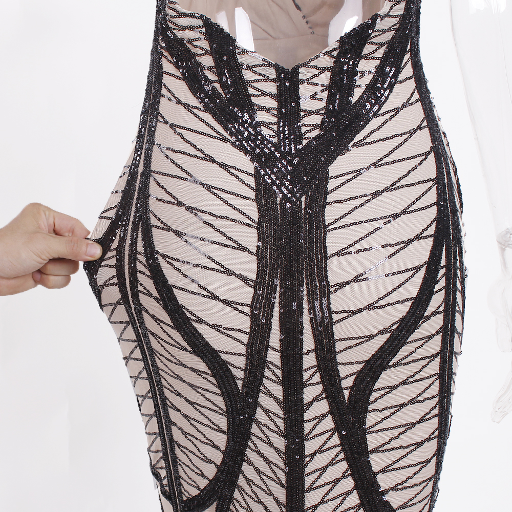 Sleeveless Deep V Neck Black Sequined Dress Backless Stretchy Long Mermaid Dress 14