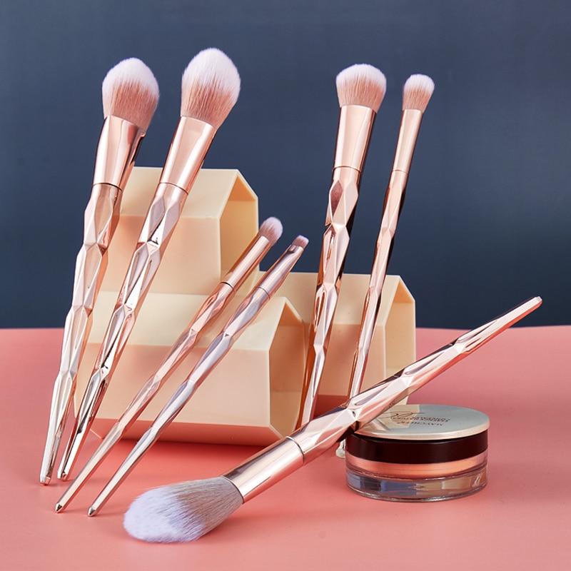 Doxa 7pcs Diamond Handle Makeup Brush Powder Brush Cosmetic Lip Brush Eyeshadow Blush Highlight Brush Make Up Brush Kits