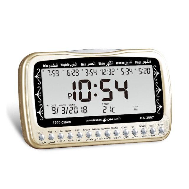 Horloge musulmane islamique Al Harameen Fajr temps de Table pour toutes les prières avec alarme Azan boussole Qibla