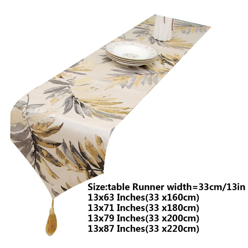 1pc Multi Color Leaves Table Runner With Tassels For Dining Table Decoration13x63in
