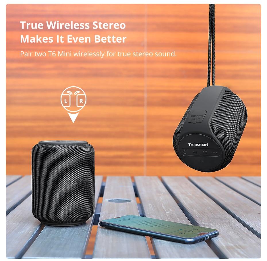 Tronsmart T6 Mini TWS Bluetooth 5.0 Speaker IPX6 Waterproof Wireless Speaker 24 Hours Play Time Outdoor Portable Speaker 15W (7)