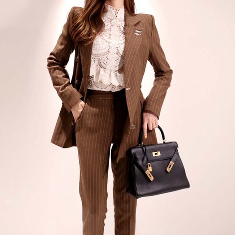 2019 New Office Work Striped Blazer Suits Of High Quality OL Women Pants Suit Blazers Jackets With Trouser Two Pieces Set Karachi