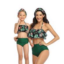 2020 Семейные одинаковые купальники бикини для мамы и дочки