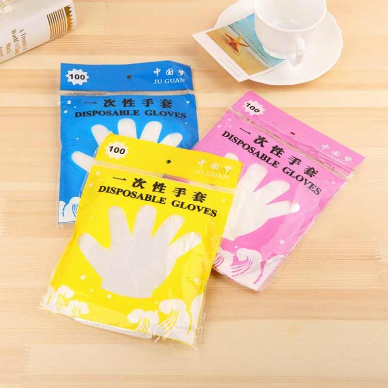 100PCS/Set Plastic Disposable Gloves Restaurant BBQ Fruit Vegetable Kitchen Food Household Cleaning Gloves