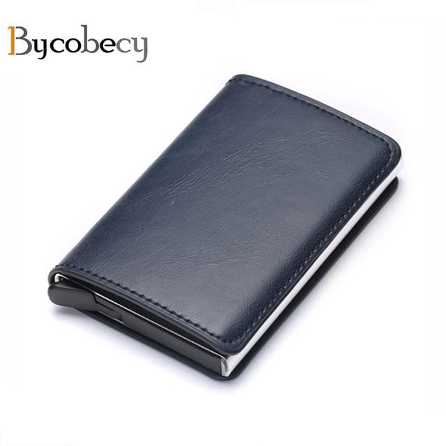 Bycobecy Antitheft Men Vintage Credit Card Holder Blocking Rfid Wallet Leather Unisex Security Wallet Leather Women Magic Wallet 1
