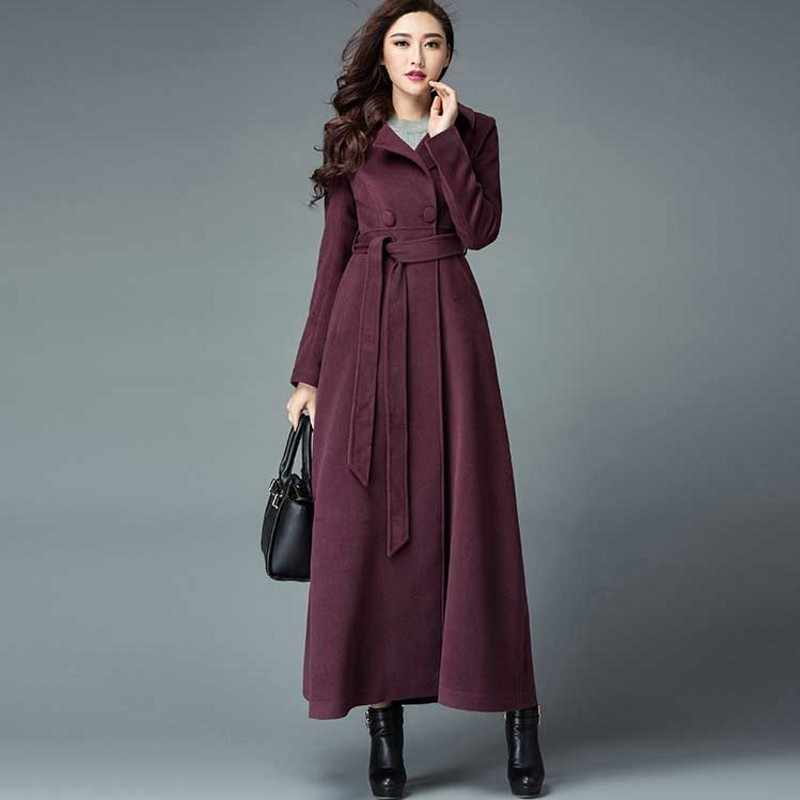 Winter Women Woolen Maxi Long Overcoat Classic Sashes High Waist Office Ladies Outerwear Military Wool Blends Coat Windbreaker