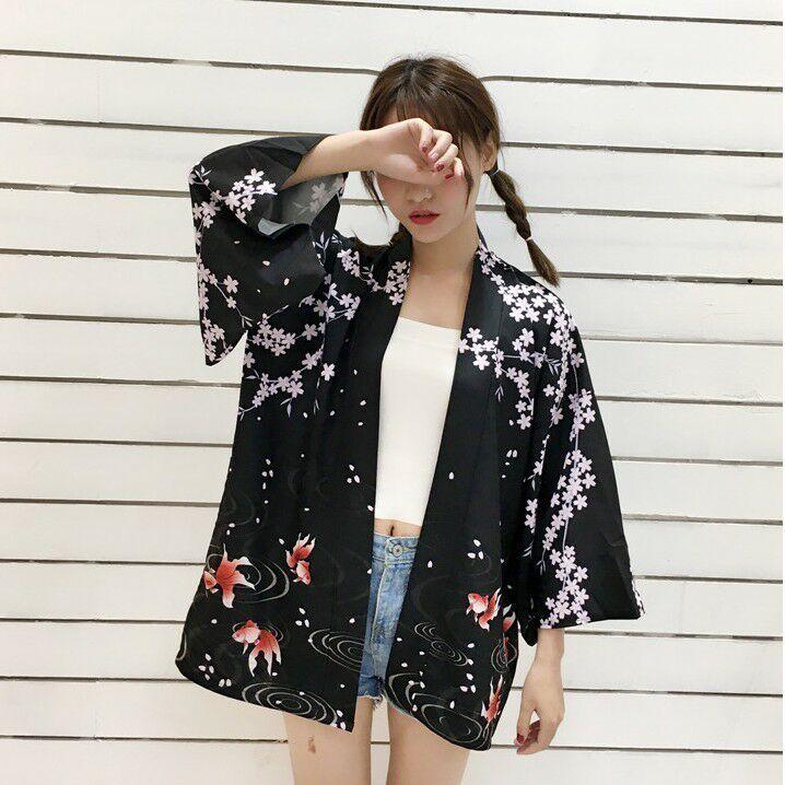 Summer Japanese College Kimono Flower Goldfish Loose Kimono Tops Sunscreen Clothes Loose Women Thin Coat Cardigan Yukata New