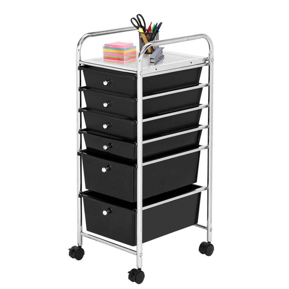 6 Drawers Beauty Salon Rolling Cart Trolley Furniture With 4 PCS Universal Wheels For Home Office And School
