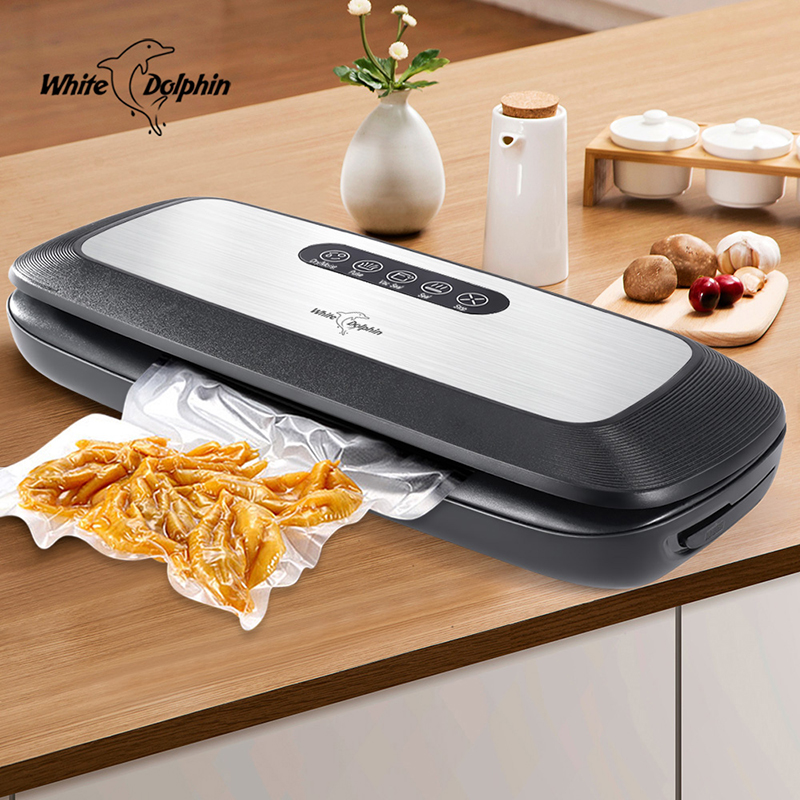 White Dolphin Best Food Vacuum Sealer Machine 220V 110V With 10PCS Food Packaging Bags Household Electric Vacuum Food Sealer