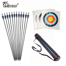 31.5inch Archery Fiberglass Arrows 500Spine Detachable Arrowheads with Telescopic Arrow Quiver Target Paper and Nail