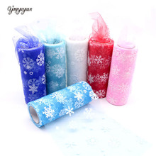 15cm 10 Yards Christmas Snowflake Tulle Roll DIY Crafts Organza Fabric Flocking Tulle Rolls Wedding Party Christmas Decoration