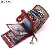 Sendefn rfid кошелек тройного сложения женский кожаный с держателем