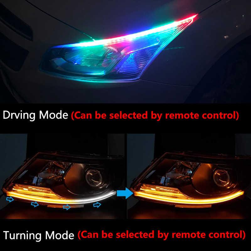 2X Luz de circulación diurna RGB con flujo secuencial DRL tira LED multicolor luces de señal de giro para faro