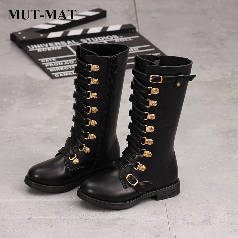 Kids Shoes Martin Boots Girls Cool Fashion Lace Letter Knee-high Boots Quality Leather Waterproof Warming Short Plush Boots