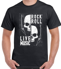 Rock N Roll Live Music Mens T-Shirt Skulls Festival Heavy Metal Guitar Electric Brand Clothes Summer 2019 O-Neck Men Tee Shirt