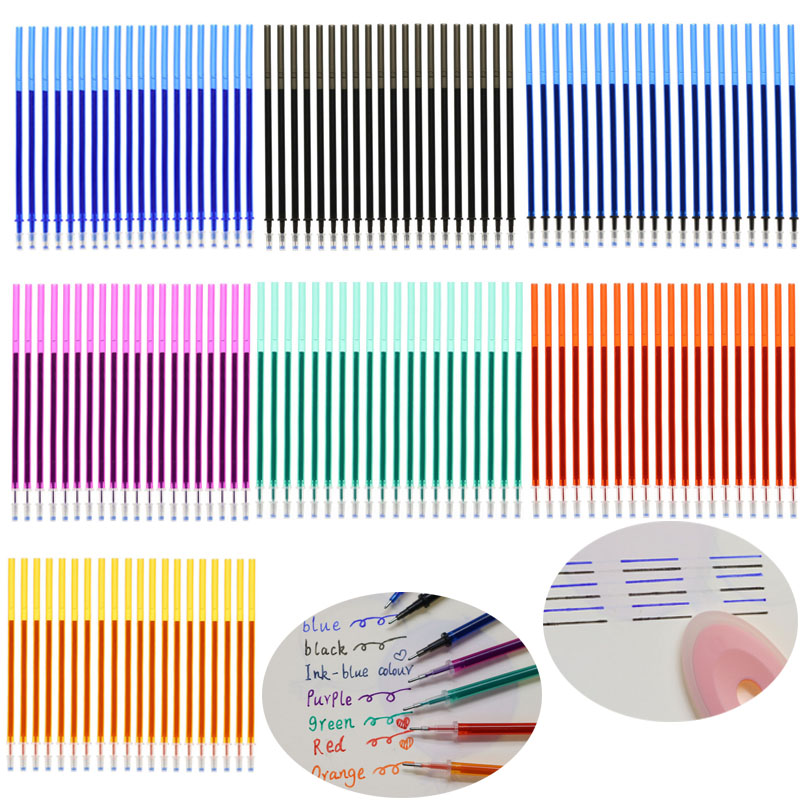 20pcs/Pack Magic Erasable Gel Pen 0.5mm Blue/Black/Purple/Ink Blue/Green/Orange/Red/Refill School Office Writing Stationery