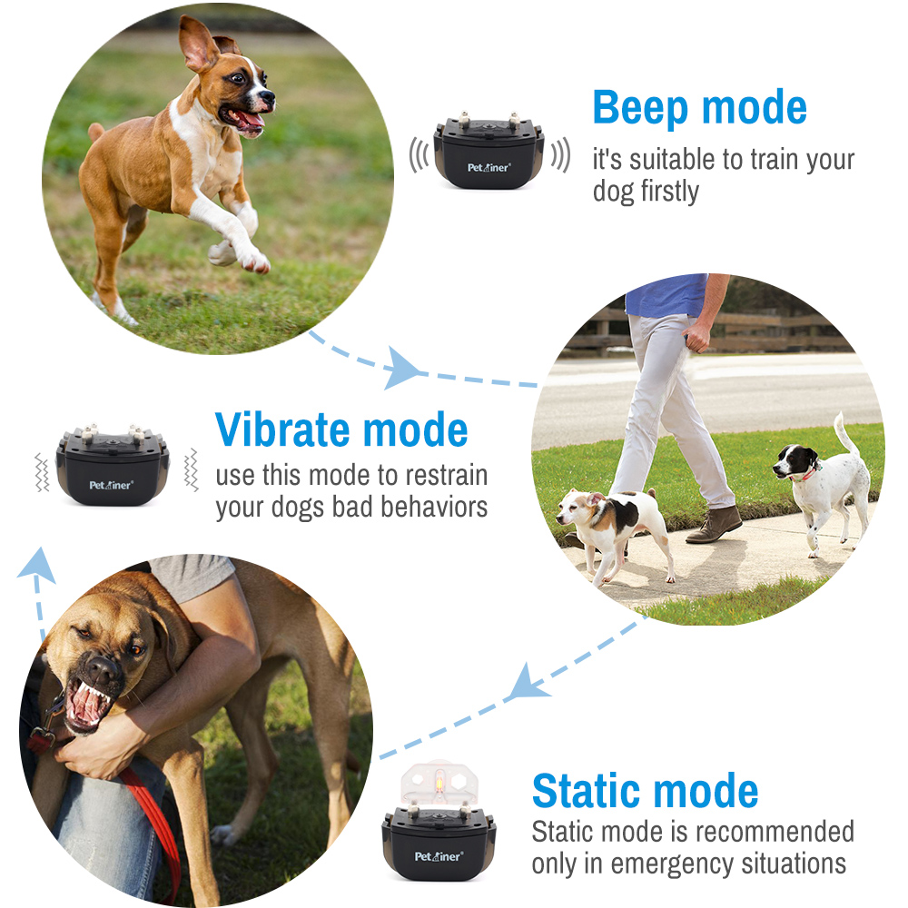 PETRAINER 300M Remote Control and Rechargeable Electric Dog Collar for Shock and Vibration with LCD Display 2