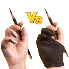 2 Finger Anti-fouling Glove Black Artist Glove for Drawing Graffiti Sketch Oil Painting Writing Right and Left Hand Protection