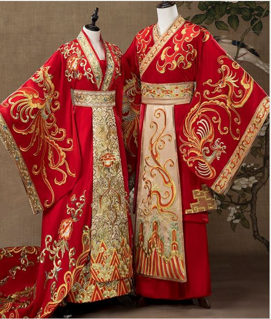 YFL Han Dynasty Traditional Wedding Costume Sets For Male Female Couple Heavy Embroidery Gorgeous Tailed Wedding Hanfu Bride