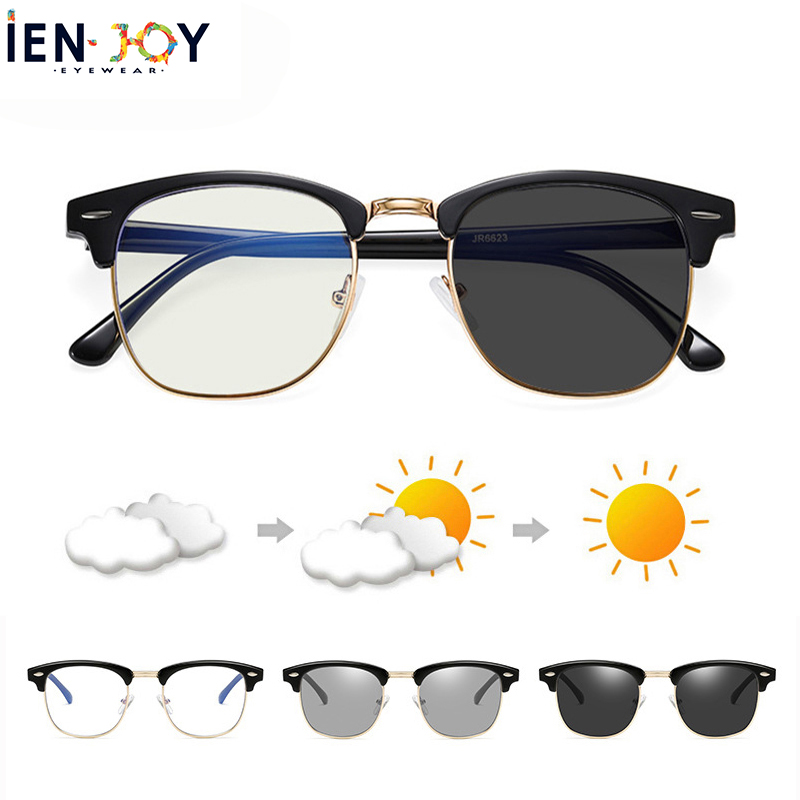 IENJOY Photochromic Sunglasses Blue Light Blocking Glasses For Women Men UV400 Computer Eyeglasses Semi Rimless Glasses