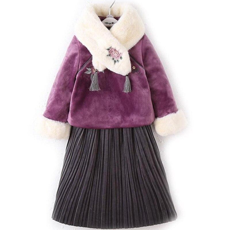 DFXD adolescent filles vêtements ensembles nouveau hiver broderie écharpe coton rembourré manteau + jupe plissée 2pc tenues 3-12Yrs enfants vêtements