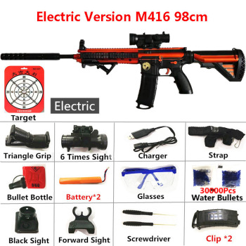 Electric Automatic Rifle M416 Toy Gun 98cm Safety Water Bullet Shoot Silencer Toys Air Soft Sniper Arms Weapon Airsoft Air Guns