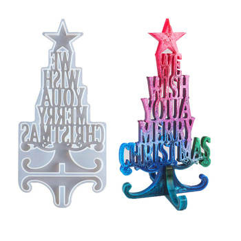 DIY Christmas Series Crystal Epoxy Resin Mold Tree Letter Silicone Decoration for