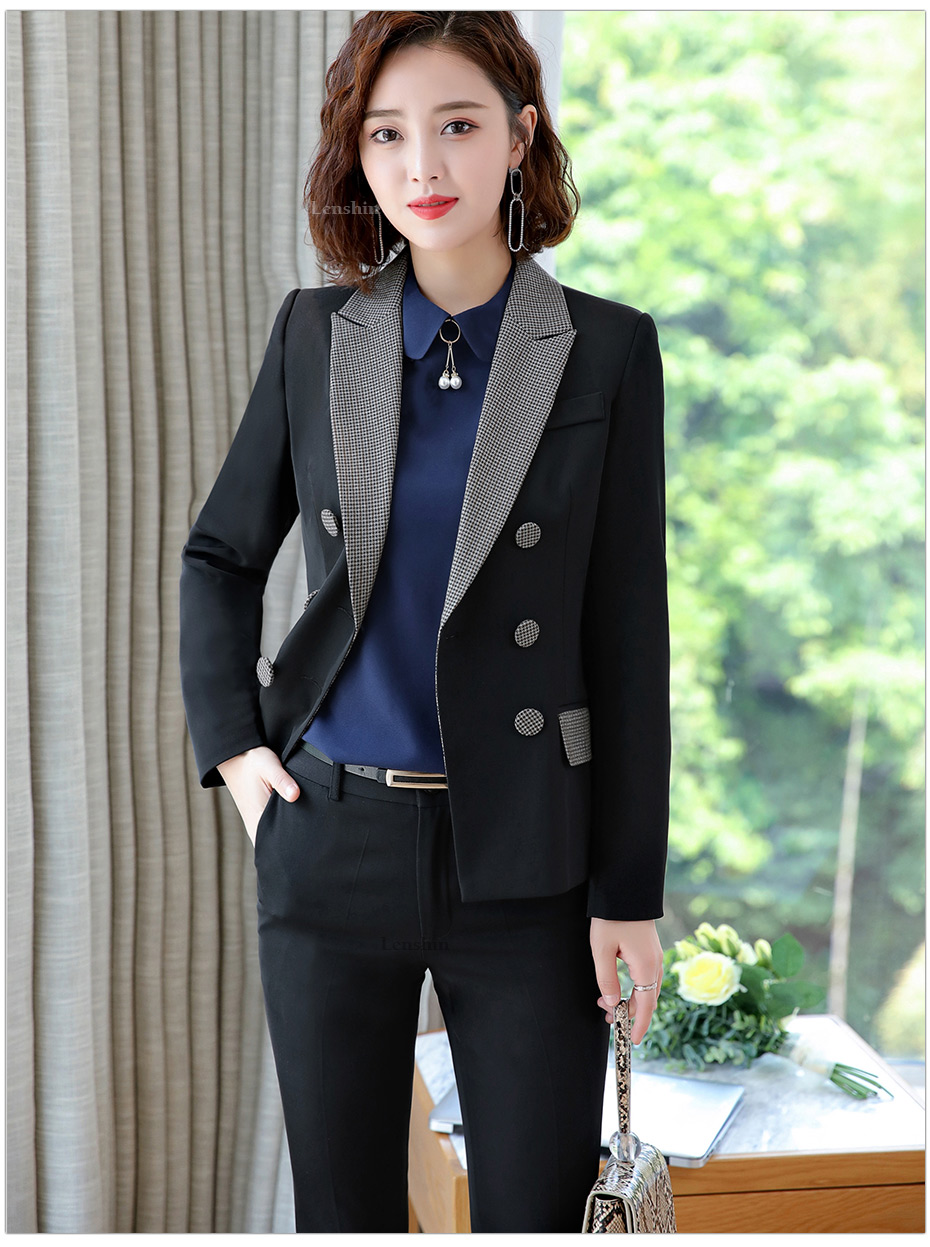 Lenshin High-quality 2 Piece Set Houndstooth Formal Pant Suit Blazer Office Lady Design Women Soft Jacket and Full-Length Pant 31