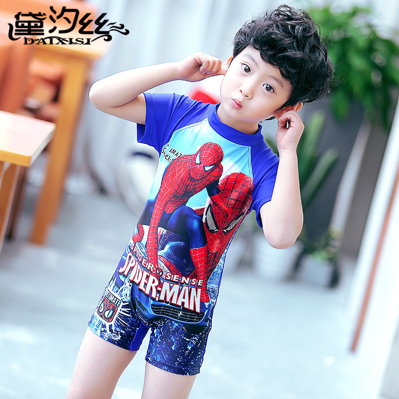 Tour Bathing Suit Children BOY'S One-piece Cartoon Spider-Man Hooded Half Sleeve One-piece Boxer Boy Bathing Suit Hot Springs Sw