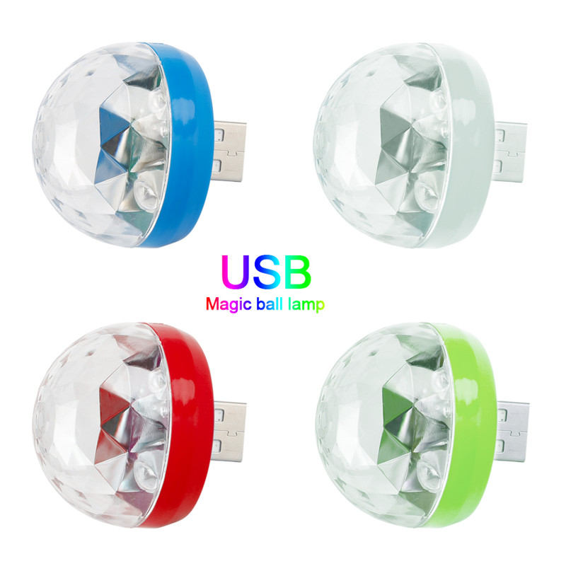 Mini USB LED Disco Stage Colorful Light Small Portable LED Magic Ball Compatible With Phones/Tablet/Notebook For Family Parties