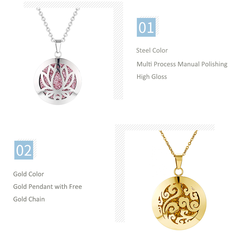 Aromatherapy Essential Oil Diffuser Locket Necklace (58)
