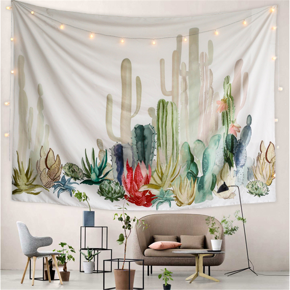 Drop <font><b>Ship</b></font> Watercolor Cactus Tapestry Wall Hanging Green Plants Bohemian Decor Wall Carpet Tapestries Hippie Dorm Blanket Rug Mat image