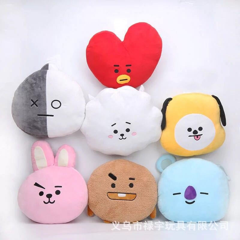 BTS Bulletproof Boys Doll Pillow Gold Tyne Tata Doll Heart Plush Toys DOG'S Head Matou Rabbit Head