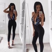 Sexy Backless Deep V Neck Jumpsuit Womens Sexy Sequin Lady Trousers Party Jumpsuits Slim Cami Overalls Body For Women