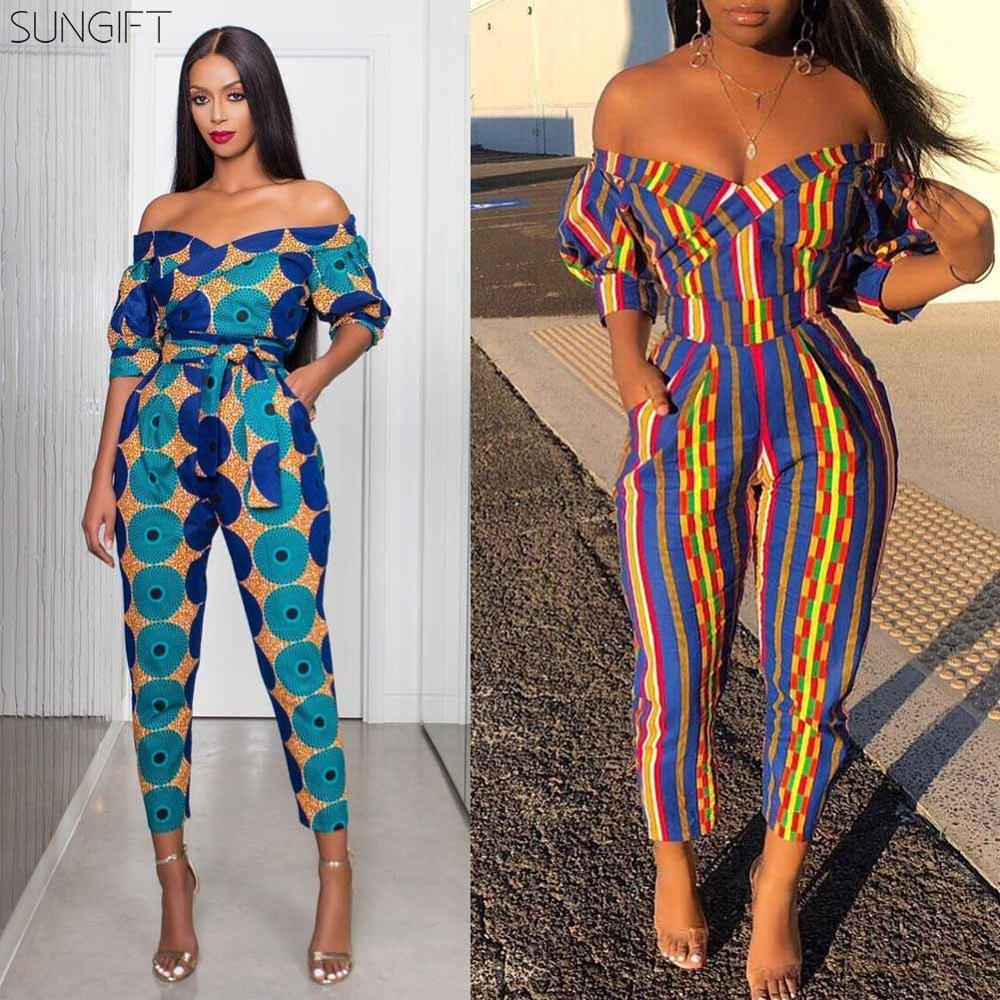 SUNGIFT Dashiki Women's African Clothes Off-shoulder V Neck Jumpsuit Striped Geometric Pattern Ankara Jumpsuit For 2019 Autumn