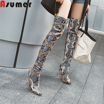 ASUMER 2020 new autumn winter boots women pointed toe zip over the knee botos thin high heels shoes sexy women boots plus size