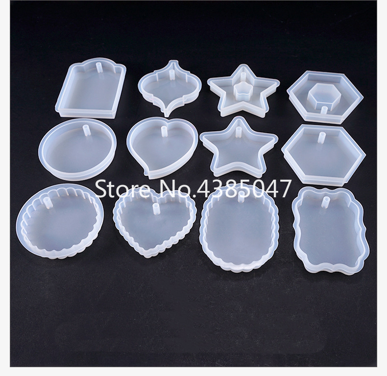 Heart-shaped Hexagon Highlight Wavy Oval Expoxy Resin Jewelry Mold For Making Jewelry Pendant Pendant Tools
