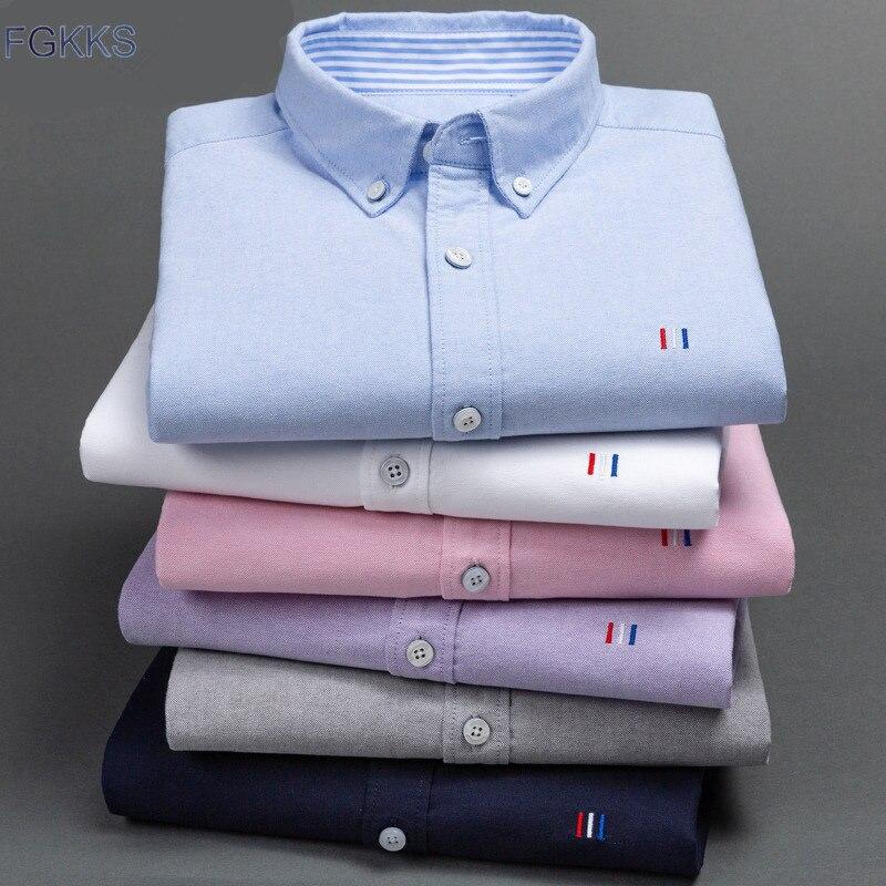 FGKKS Men Shirt Autumn New Long Sleeved Men's Shirt Square Collar Professional Dress Solid Color Wild Shirt Male Cotton