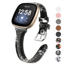 Hakiki deri Watchband Fitbit Versa için 3 kayış bilek bandı bilezik kemer erkekler kadınlar kordon akıllı saat fitbit sense correa