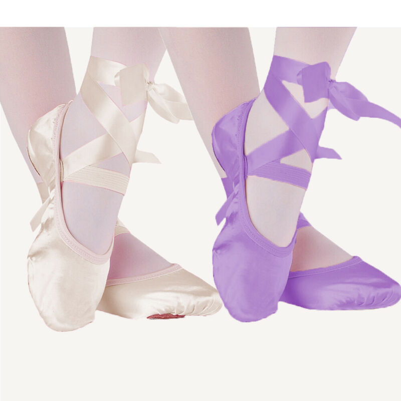 Girl Dance Shoes Pink Purple Apricot & Red Canvas Ballet Dance Shoes Split Suede Sole Children