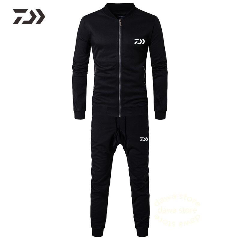 New Daiwa Black Fishing Suit Breathable Fishing Jacket Pants Suit Zipper Pocket Fishing Shirts Long Sleeve In  Fishing Clothes фото