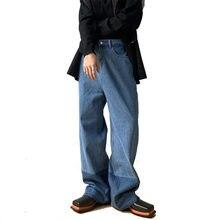 Homens vintage splice cor solta casual reta denim perna larga calça masculina estilo coreano streetwear moda retro calças de brim homem
