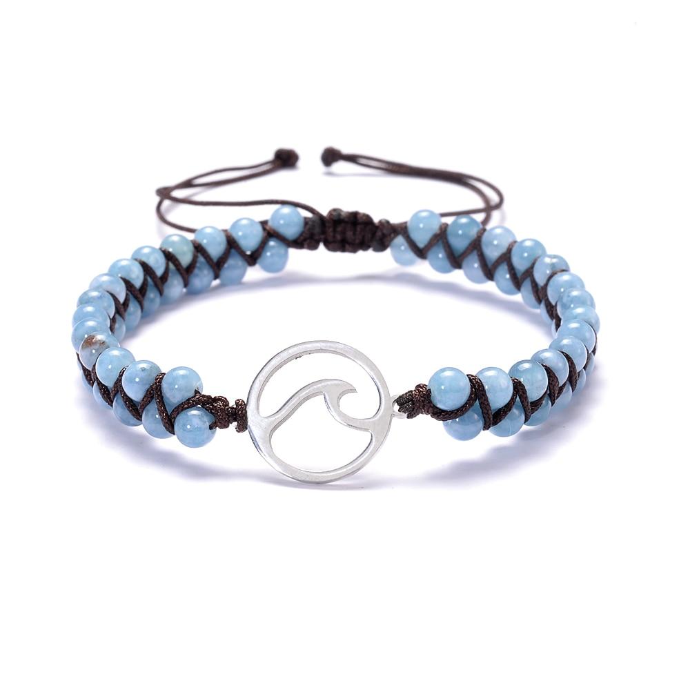Ondas do mar 4 mm pedras azuis frisado envoltório pulseiras de aço inoxidável surf charme masculino feminino jóias de verão